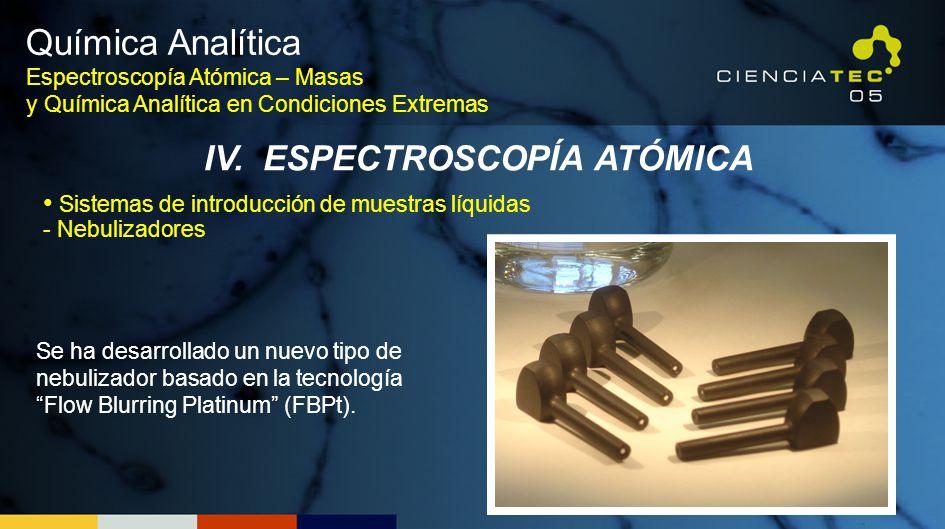 Química Analítica Espectroscopía Atómica – Masas y Química Analítica en Condiciones Extremas IV. ESPECTROSCOPÍA ATÓMICA Se ha desarrollado un nuevo ti