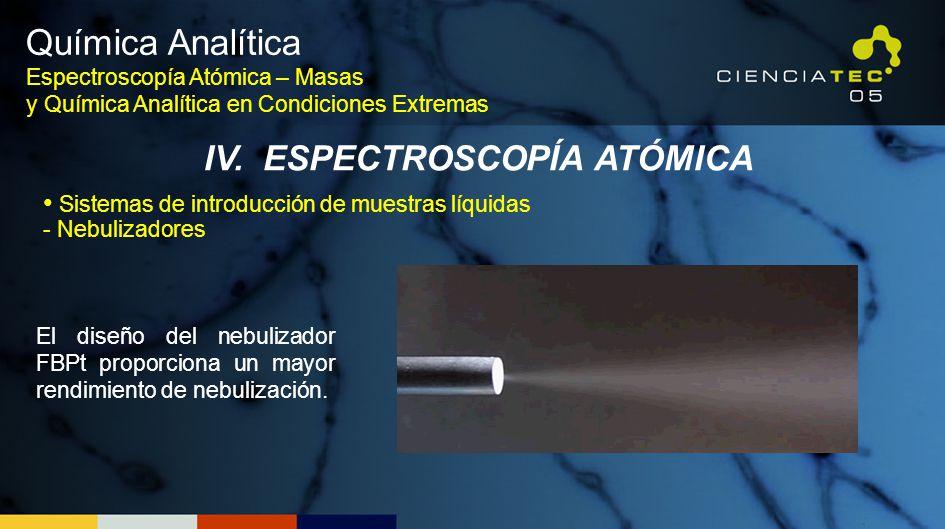Química Analítica Espectroscopía Atómica – Masas y Química Analítica en Condiciones Extremas IV. ESPECTROSCOPÍA ATÓMICA El diseño del nebulizador FBPt