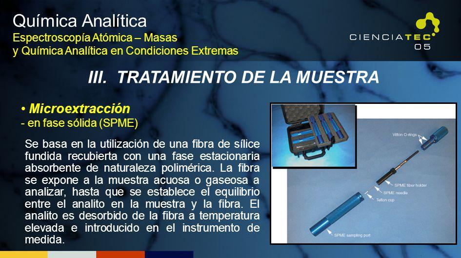 Se basa en la utilización de una fibra de sílice fundida recubierta con una fase estacionaria absorbente de naturaleza polimérica. La fibra se expone
