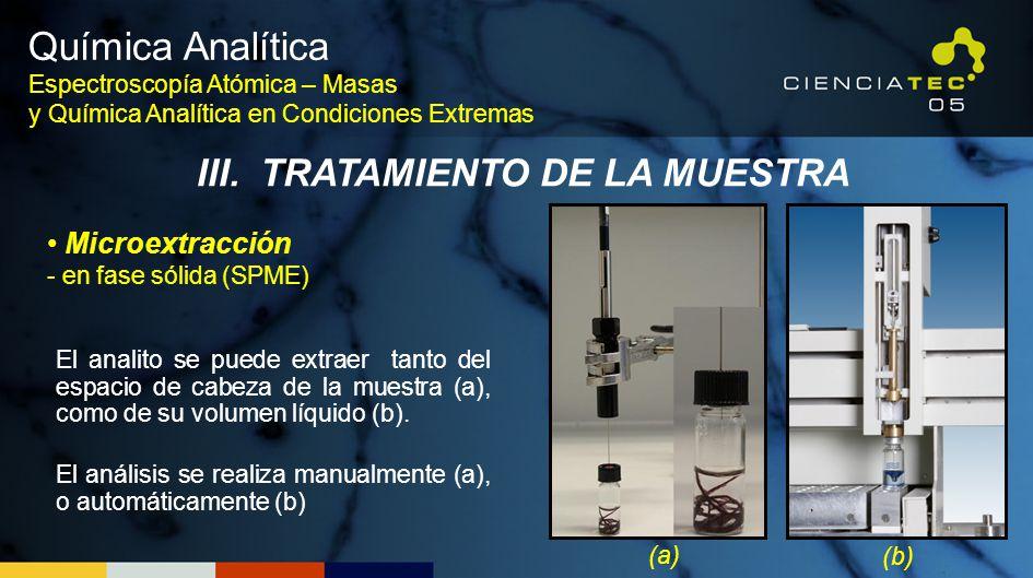 El analito se puede extraer tanto del espacio de cabeza de la muestra (a), como de su volumen líquido (b). El análisis se realiza manualmente (a), o a