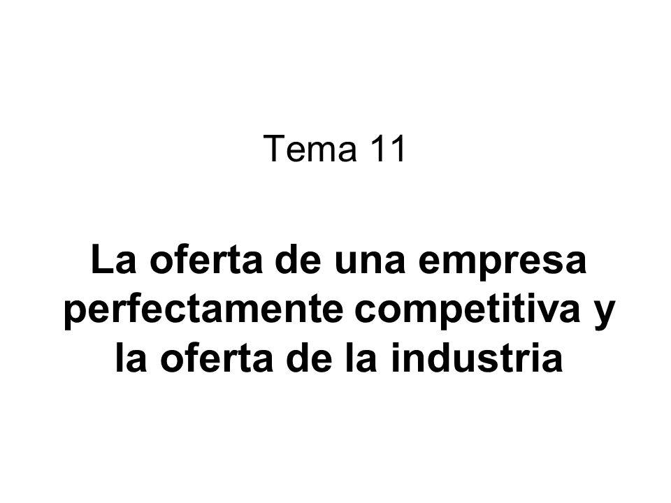 Tema 11 La oferta de una empresa perfectamente competitiva y la oferta de la industria