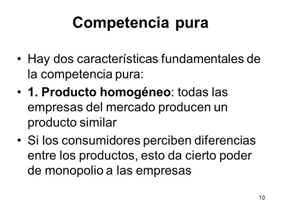 10 Competencia pura Hay dos características fundamentales de la competencia pura: 1. Producto homogéneo: todas las empresas del mercado producen un pr