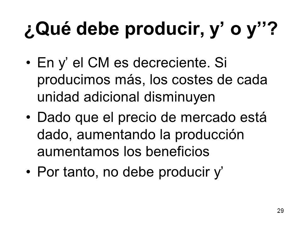 29 ¿Qué debe producir, y o y? En y el CM es decreciente. Si producimos más, los costes de cada unidad adicional disminuyen Dado que el precio de merca
