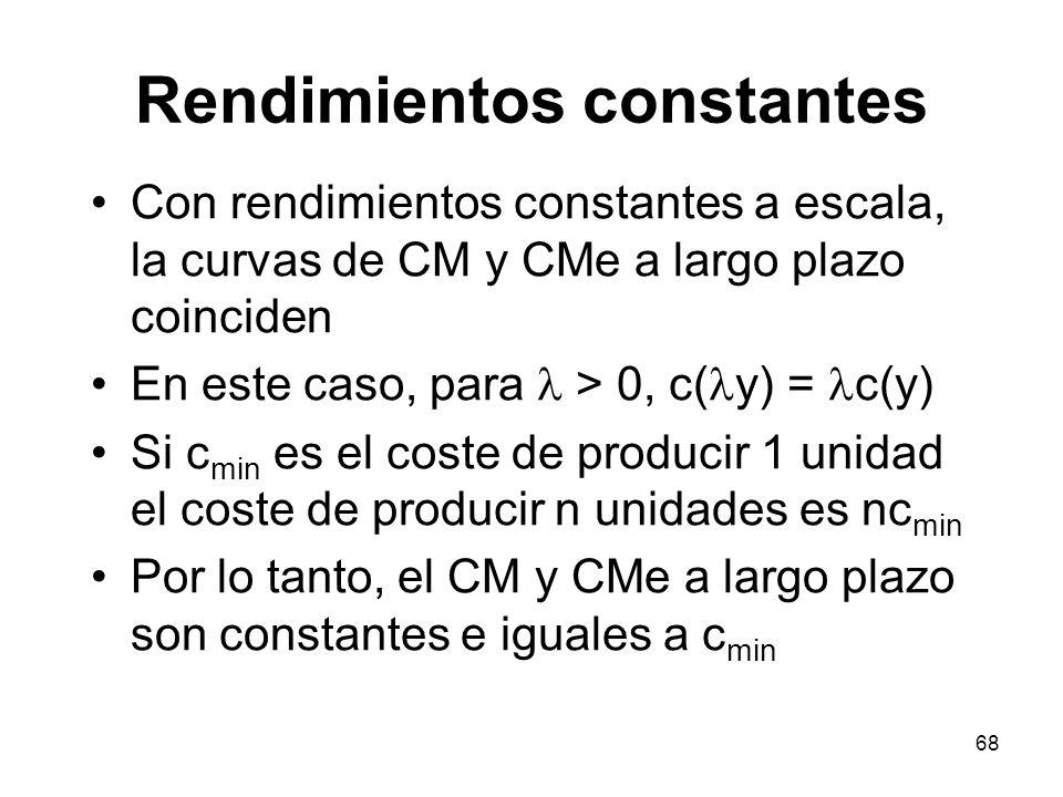 68 Con rendimientos constantes a escala, la curvas de CM y CMe a largo plazo coinciden En este caso, para > 0, c( y) = c(y) Si c min es el coste de pr