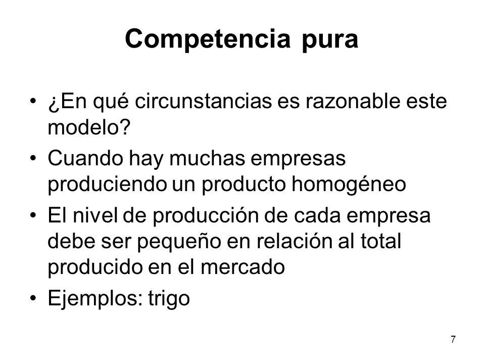 7 ¿En qué circunstancias es razonable este modelo? Cuando hay muchas empresas produciendo un producto homogéneo El nivel de producción de cada empresa