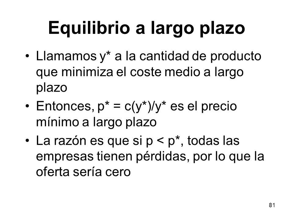 81 Equilibrio a largo plazo Llamamos y* a la cantidad de producto que minimiza el coste medio a largo plazo Entonces, p* = c(y*)/y* es el precio mínim