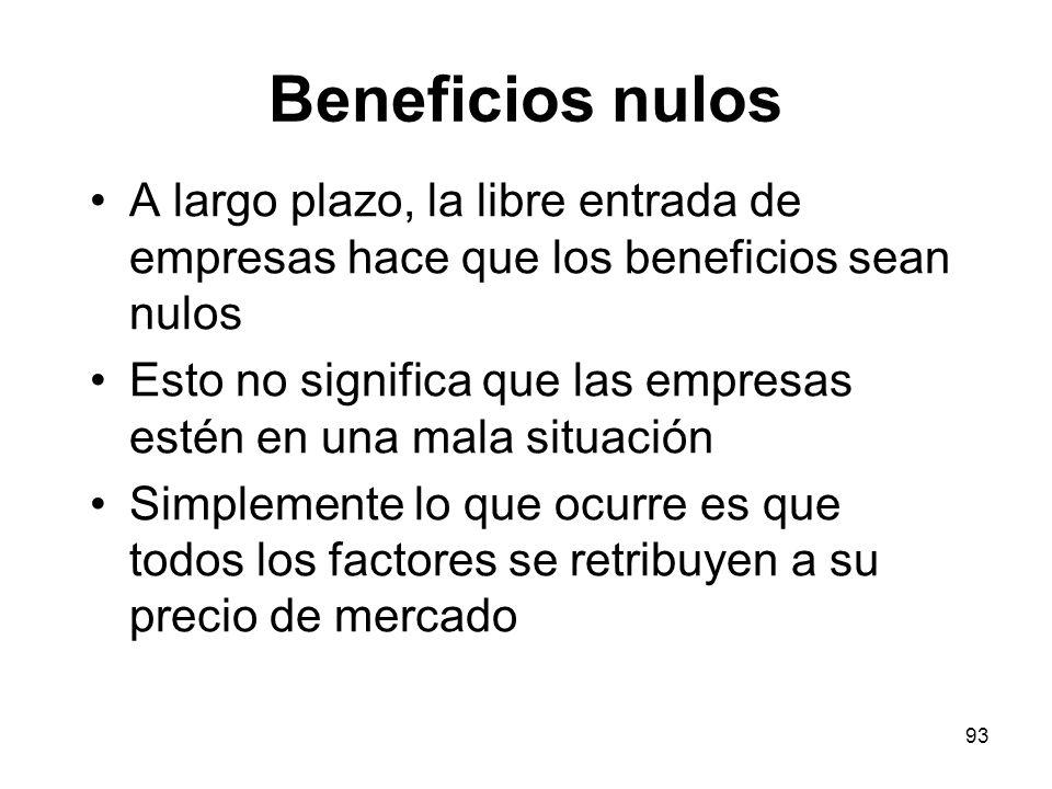 93 Beneficios nulos A largo plazo, la libre entrada de empresas hace que los beneficios sean nulos Esto no significa que las empresas estén en una mal