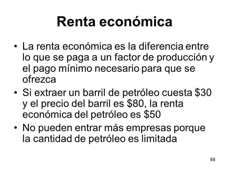 98 Renta económica La renta económica es la diferencia entre lo que se paga a un factor de producción y el pago mínimo necesario para que se ofrezca S