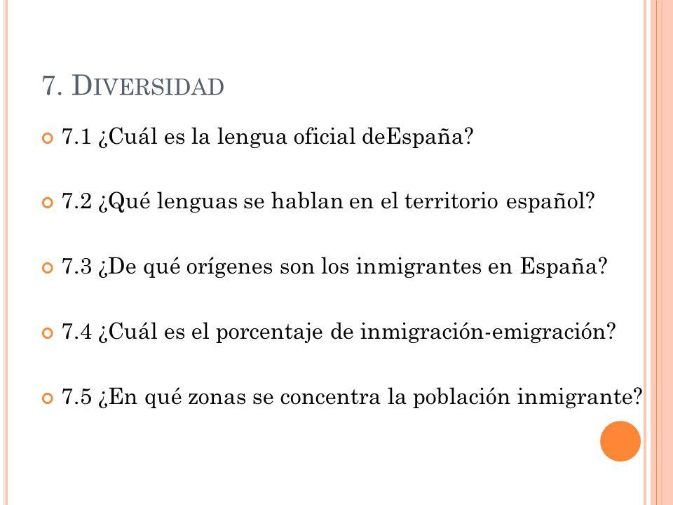 7. D IVERSIDAD 7.1 ¿Cuál es la lengua oficial deEspaña? 7.2 ¿Qué lenguas se hablan en el territorio español? 7.3 ¿De qué orígenes son los inmigrantes