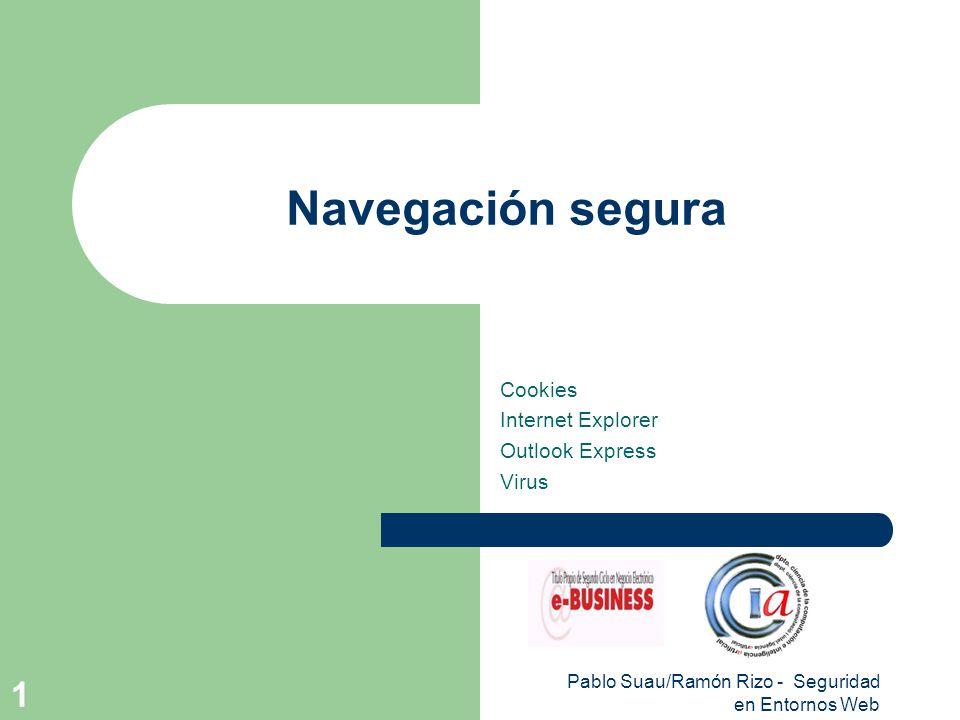 Pablo Suau/Ramón Rizo - Seguridad en Entornos Web 12 Outlook Express Identificadores digitales – Certificados.