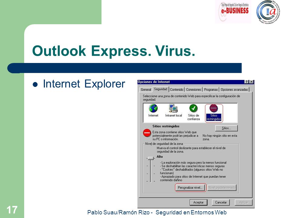 Pablo Suau/Ramón Rizo - Seguridad en Entornos Web 17 Outlook Express. Virus. Internet Explorer