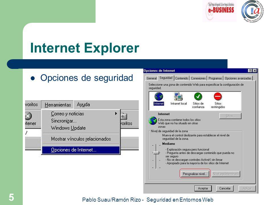 Pablo Suau/Ramón Rizo - Seguridad en Entornos Web 6 Internet Explorer Cookies