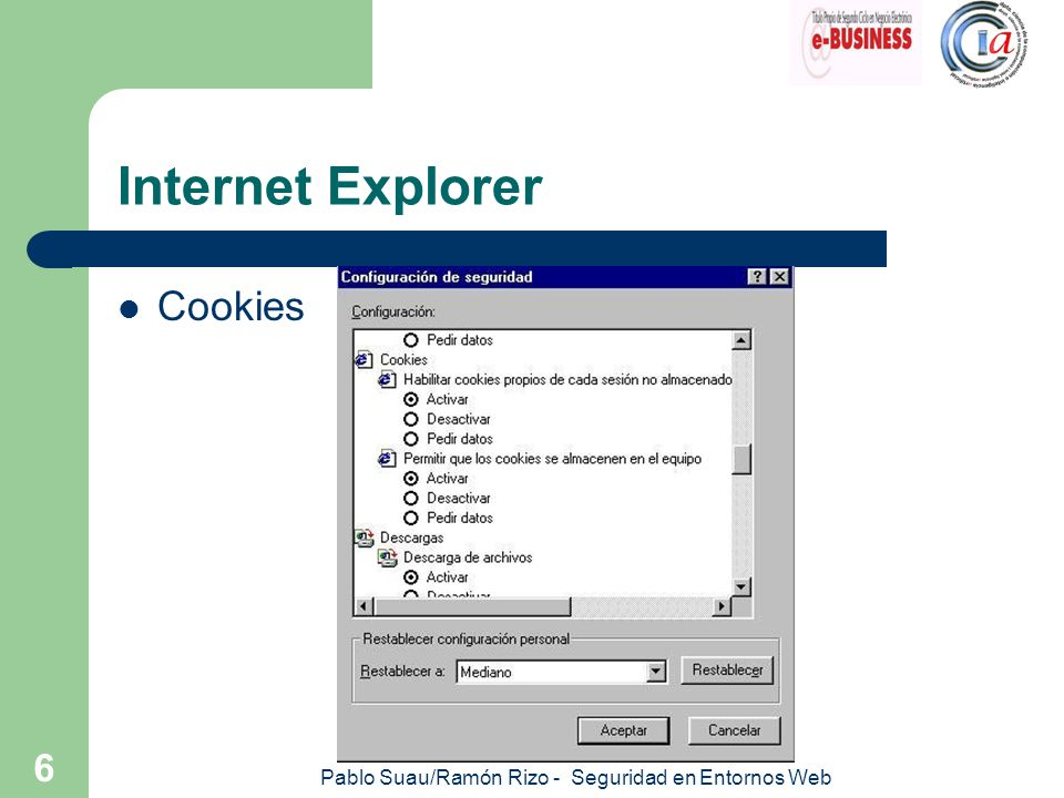 Pablo Suau/Ramón Rizo - Seguridad en Entornos Web 7 Internet Explorer