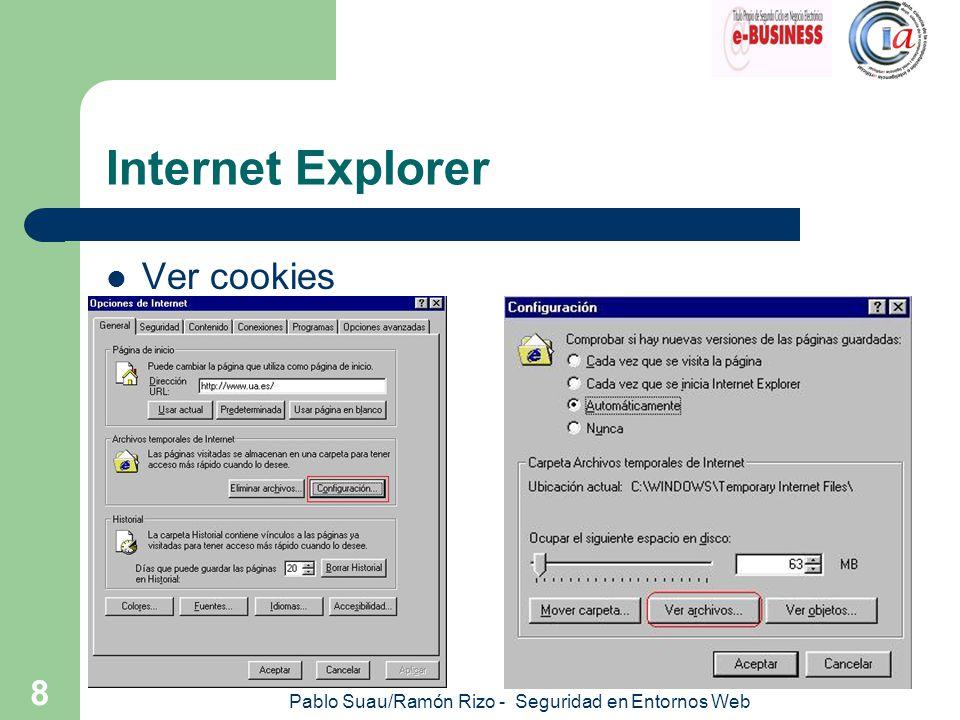 Pablo Suau/Ramón Rizo - Seguridad en Entornos Web 9 Internet Explorer