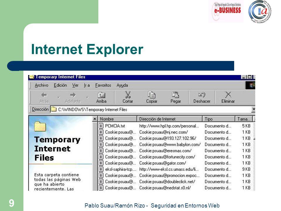 Pablo Suau/Ramón Rizo - Seguridad en Entornos Web 10 Outlook Express Características de seguridad: