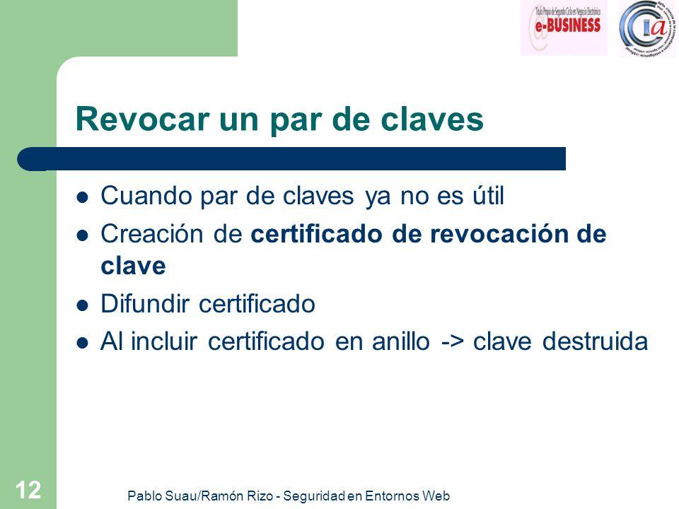 Pablo Suau/Ramón Rizo - Seguridad en Entornos Web 12 Revocar un par de claves Cuando par de claves ya no es útil Creación de certificado de revocación