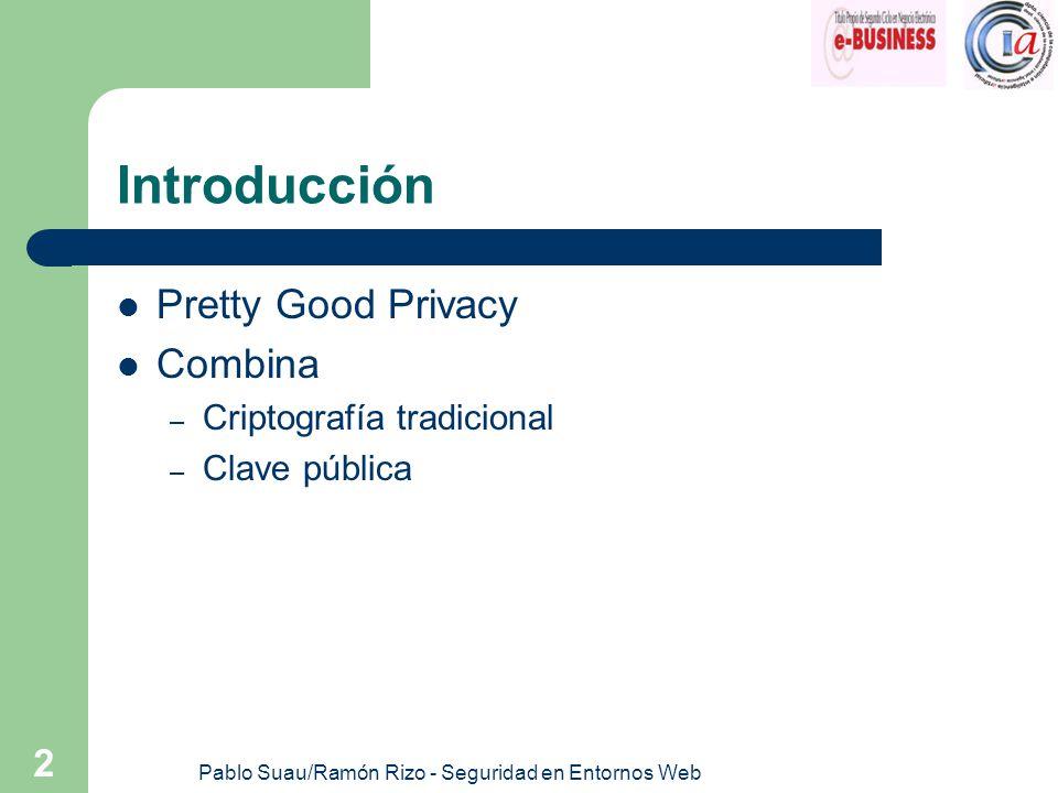 Pablo Suau/Ramón Rizo - Seguridad en Entornos Web 2 Introducción Pretty Good Privacy Combina – Criptografía tradicional – Clave pública