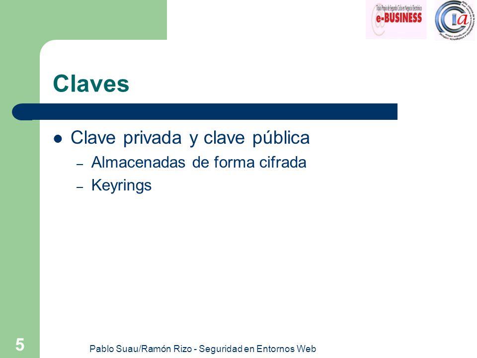 Pablo Suau/Ramón Rizo - Seguridad en Entornos Web 5 Claves Clave privada y clave pública – Almacenadas de forma cifrada – Keyrings