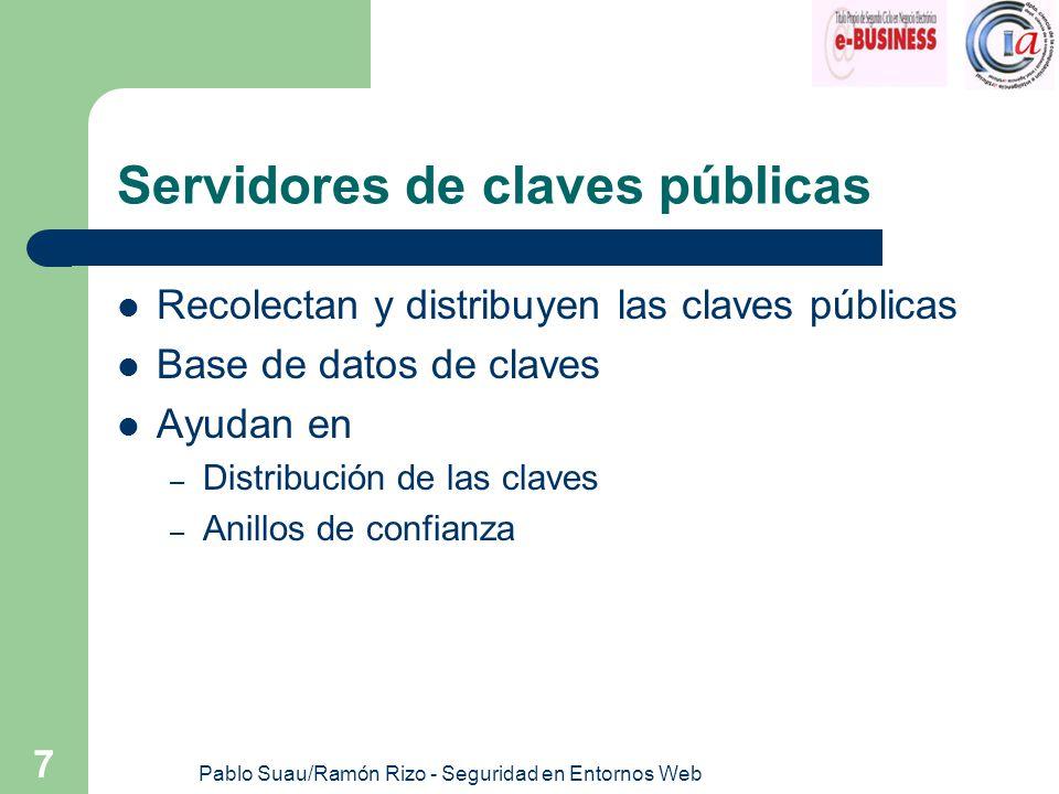 Pablo Suau/Ramón Rizo - Seguridad en Entornos Web 7 Servidores de claves públicas Recolectan y distribuyen las claves públicas Base de datos de claves