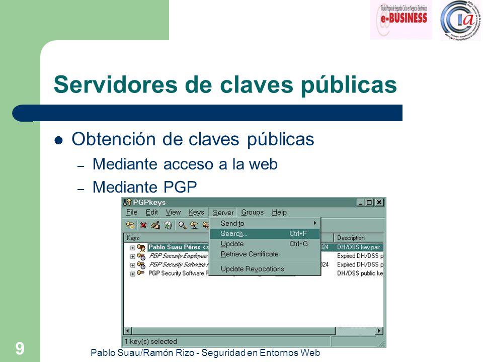 Pablo Suau/Ramón Rizo - Seguridad en Entornos Web 9 Servidores de claves públicas Obtención de claves públicas – Mediante acceso a la web – Mediante P