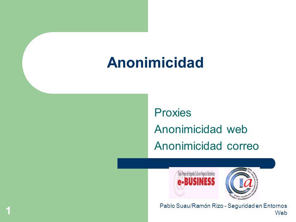 Pablo Suau/Ramón Rizo - Seguridad en Entornos Web 1 Anonimicidad Proxies Anonimicidad web Anonimicidad correo