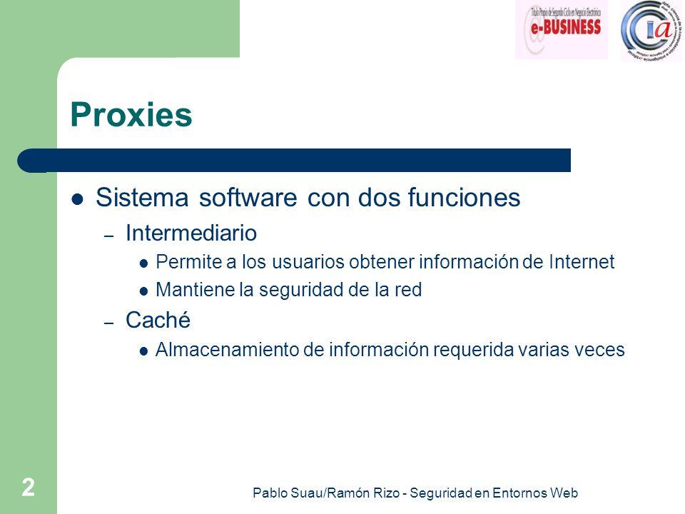 Pablo Suau/Ramón Rizo - Seguridad en Entornos Web 2 Proxies Sistema software con dos funciones – Intermediario Permite a los usuarios obtener información de Internet Mantiene la seguridad de la red – Caché Almacenamiento de información requerida varias veces