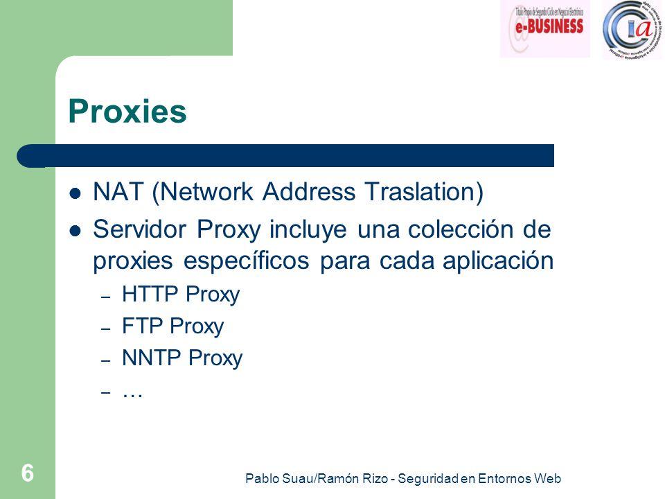 Pablo Suau/Ramón Rizo - Seguridad en Entornos Web 6 Proxies NAT (Network Address Traslation) Servidor Proxy incluye una colección de proxies específicos para cada aplicación – HTTP Proxy – FTP Proxy – NNTP Proxy – …