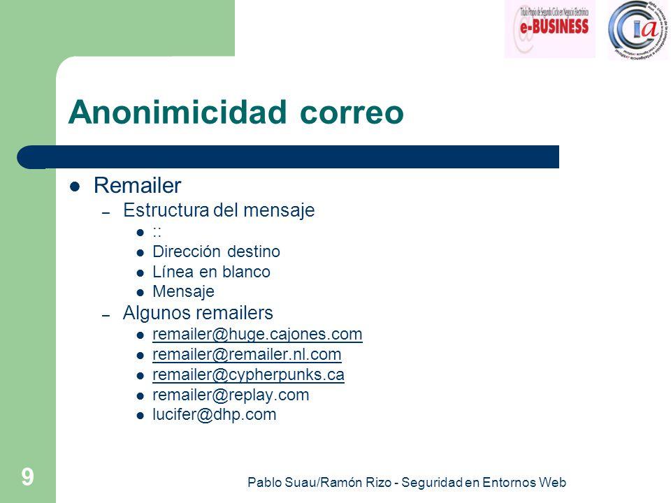 Pablo Suau/Ramón Rizo - Seguridad en Entornos Web 9 Anonimicidad correo Remailer – Estructura del mensaje :: Dirección destino Línea en blanco Mensaje – Algunos remailers remailer@huge.cajones.com remailer@remailer.nl.com remailer@cypherpunks.ca remailer@replay.com lucifer@dhp.com