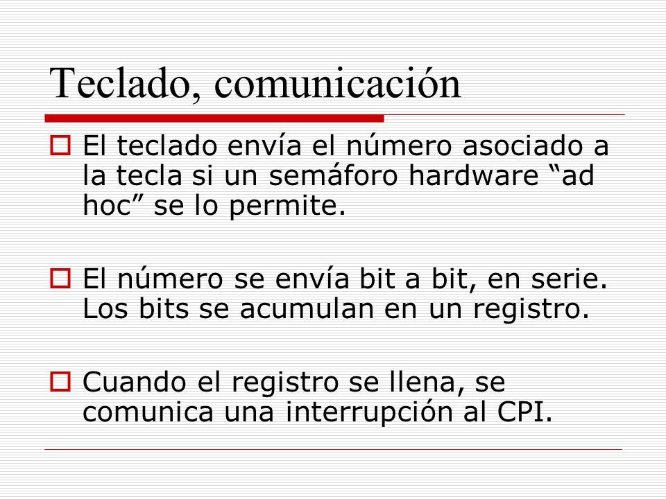 Teclado, comunicación El teclado envía el número asociado a la tecla si un semáforo hardware ad hoc se lo permite. El número se envía bit a bit, en se