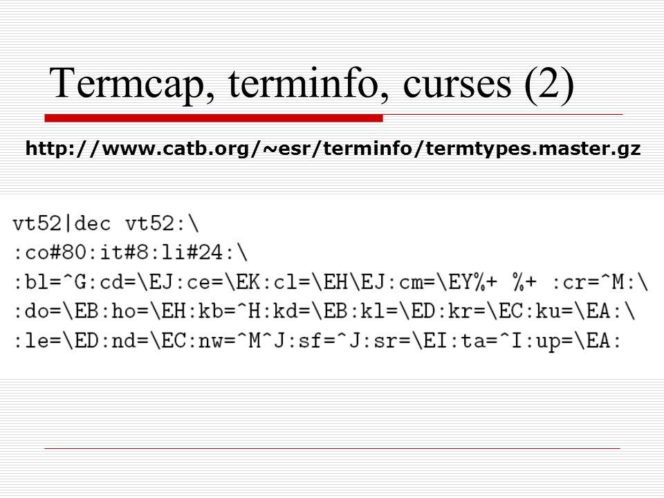 Termcap, terminfo, curses (2) http://www.catb.org/~esr/terminfo/termtypes.master.gz