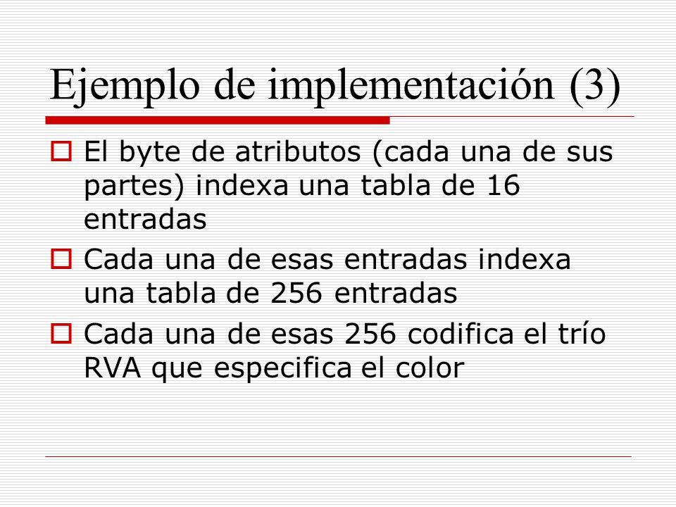 Ejemplo de implementación (3) El byte de atributos (cada una de sus partes) indexa una tabla de 16 entradas Cada una de esas entradas indexa una tabla