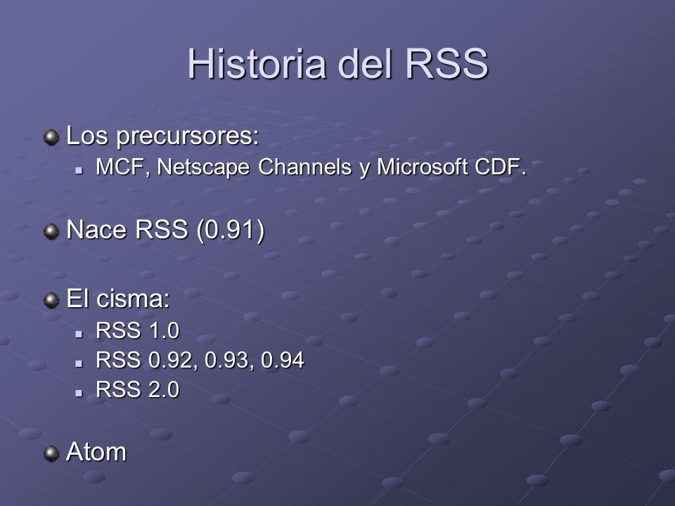 Historia del RSS Los precursores: MCF, Netscape Channels y Microsoft CDF. MCF, Netscape Channels y Microsoft CDF. Nace RSS (0.91) El cisma: RSS 1.0 RS