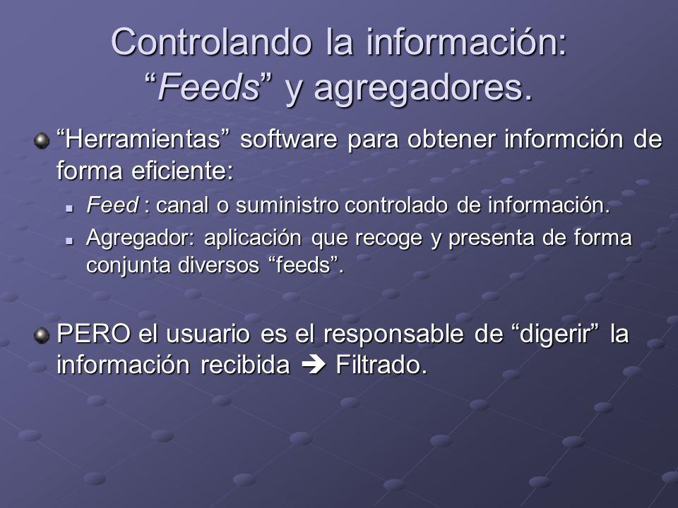 Controlando la información:Feeds y agregadores. Herramientas software para obtener informción de forma eficiente: Feed : canal o suministro controlado