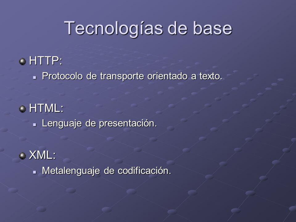 Tecnologías de base HTTP: Protocolo de transporte orientado a texto. Protocolo de transporte orientado a texto.HTML: Lenguaje de presentación. Lenguaj