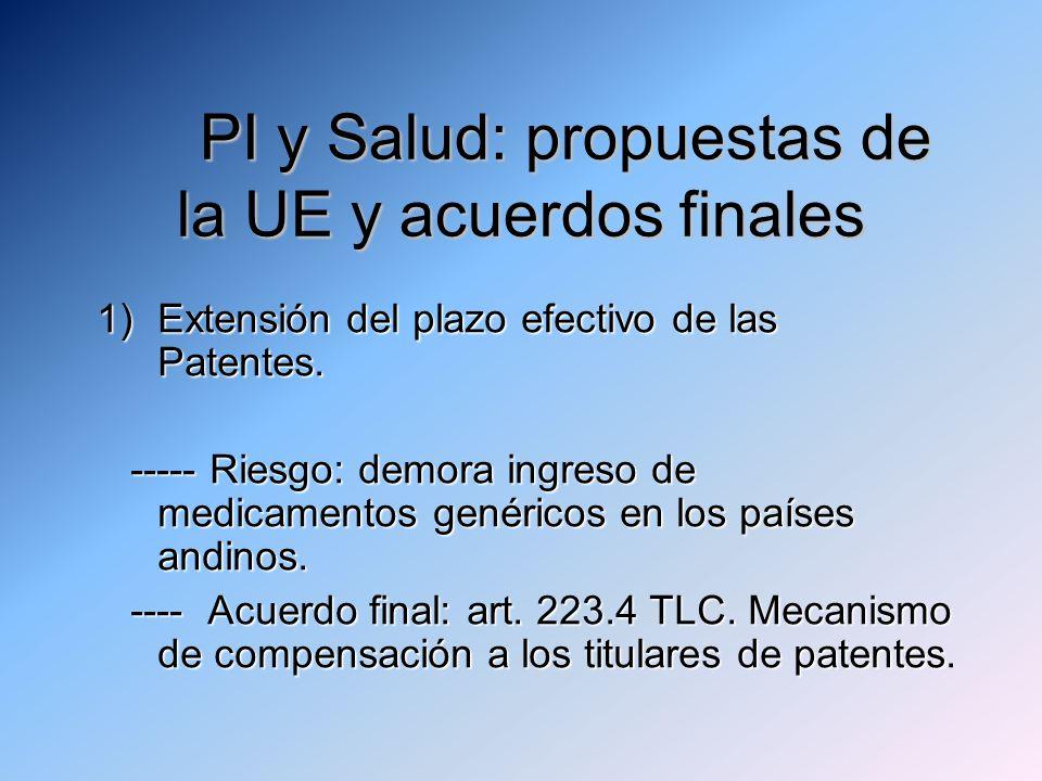 PI y Salud: propuestas de la UE y acuerdos finales 1)Extensión del plazo efectivo de las Patentes.