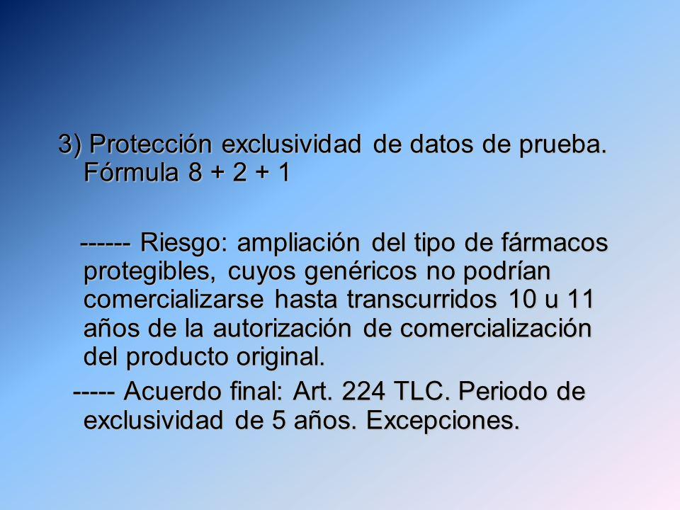 3) Protección exclusividad de datos de prueba. Fórmula 8 + 2 + 1 ------ Riesgo: ampliación del tipo de fármacos protegibles, cuyos genéricos no podría