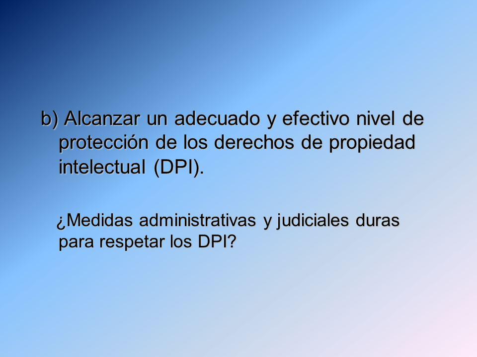 b) Alcanzar un adecuado y efectivo nivel de protección de los derechos de propiedad intelectual (DPI). ¿Medidas administrativas y judiciales duras par