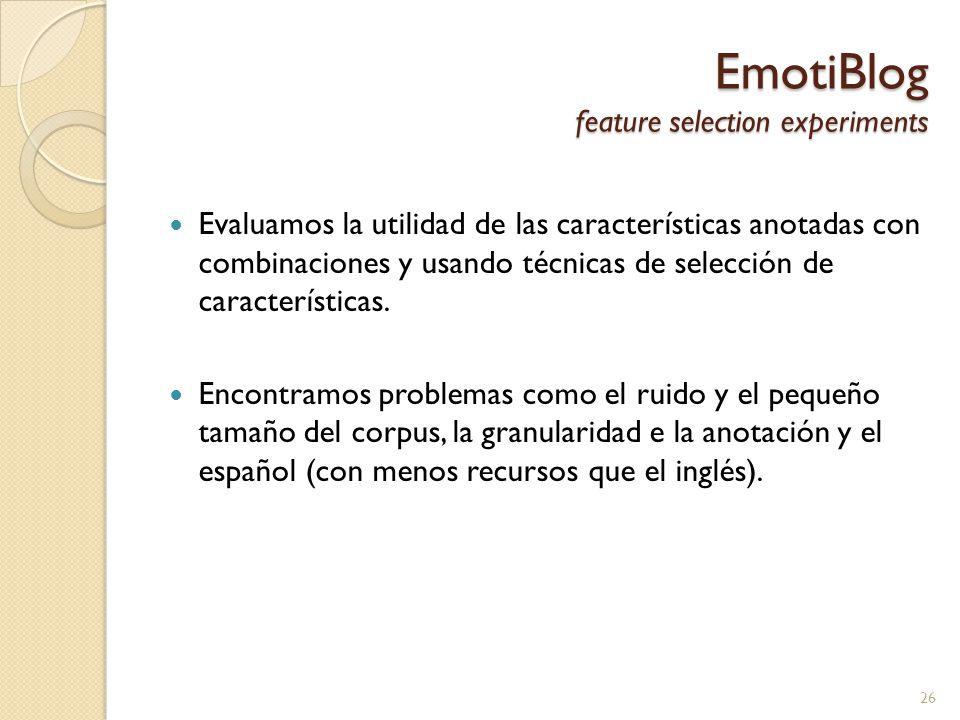 EmotiBlog feature selection experiments Evaluamos la utilidad de las características anotadas con combinaciones y usando técnicas de selección de características.