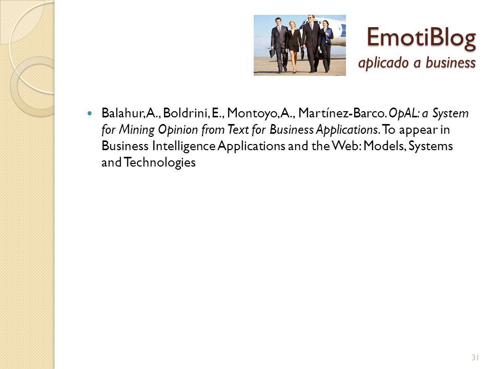 EmotiBlog aplicado a business Balahur, A., Boldrini, E., Montoyo, A., Martínez-Barco.