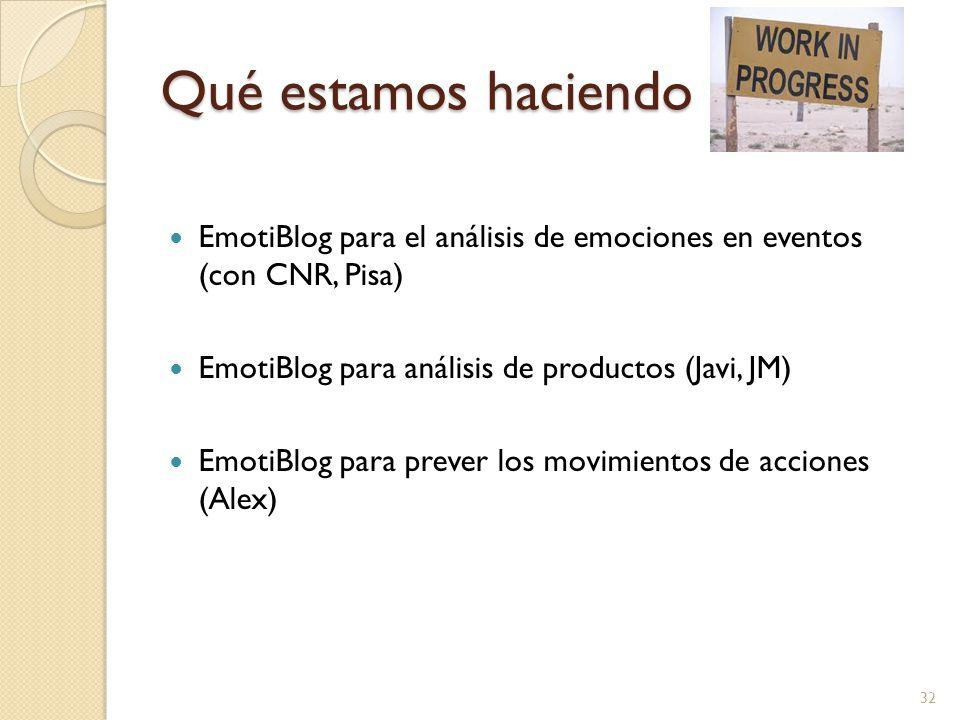 Qué estamos haciendo EmotiBlog para el análisis de emociones en eventos (con CNR, Pisa) EmotiBlog para análisis de productos (Javi, JM) EmotiBlog para prever los movimientos de acciones (Alex) 32