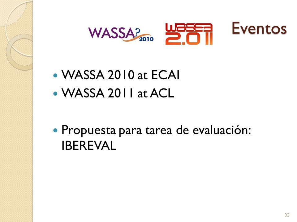 Eventos WASSA 2010 at ECAI WASSA 2011 at ACL Propuesta para tarea de evaluación: IBEREVAL 33