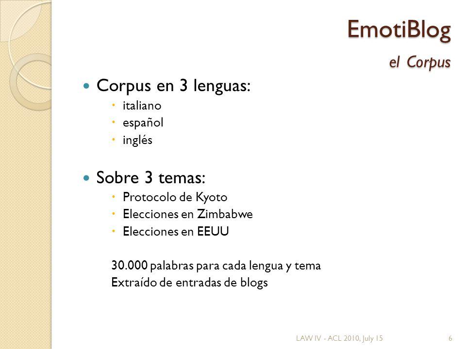 EmotiBlog el Corpus Corpus en 3 lenguas: italiano español inglés Sobre 3 temas: Protocolo de Kyoto Elecciones en Zimbabwe Elecciones en EEUU 30.000 palabras para cada lengua y tema Extraído de entradas de blogs LAW IV - ACL 2010, July 156