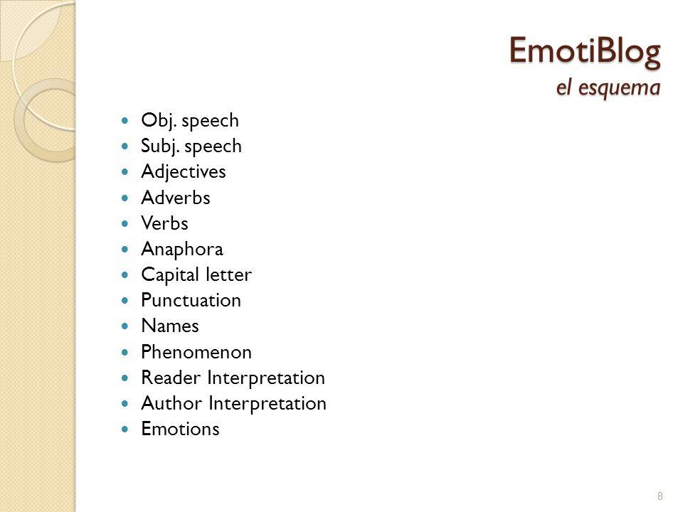 3 corpus: JRC (anotado con EmotiBlog) SemEval 2007 Task No.14 test set (anotado con una pequeña colección de emociones) ISEAR (anotado con una pequeña colección de emociones) Verificar el renidiemto del sistema usando anotación general y más detallada especifico para EmotiBlog Experimentos Clasificación de la emoción 19