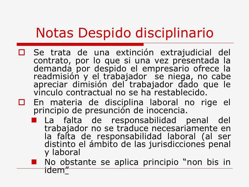 Notas Despido disciplinario Se trata de una extinción extrajudicial del contrato, por lo que si una vez presentada la demanda por despido el empresari