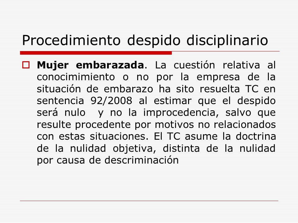 Procedimiento despido disciplinario Mujer embarazada. La cuestión relativa al conocimimiento o no por la empresa de la situación de embarazo ha sito r
