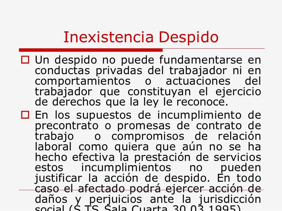 Inexistencia Despido Un despido no puede fundamentarse en conductas privadas del trabajador ni en comportamientos o actuaciones del trabajador que con