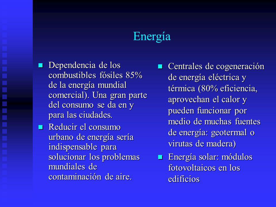 Energía Dependencia de los combustibles fósiles 85% de la energía mundial comercial). Una gran parte del consumo se da en y para las ciudades. Depende