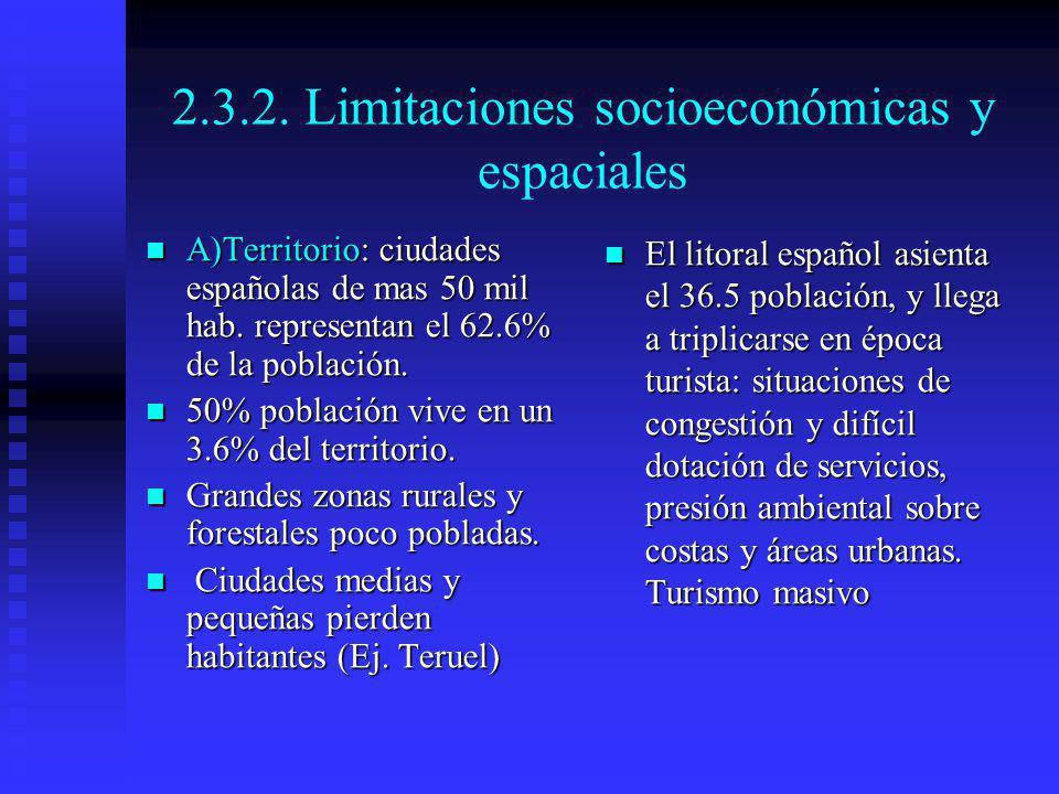 2.3.2. Limitaciones socioeconómicas y espaciales A)Territorio: ciudades españolas de mas 50 mil hab. representan el 62.6% de la población. A)Territori
