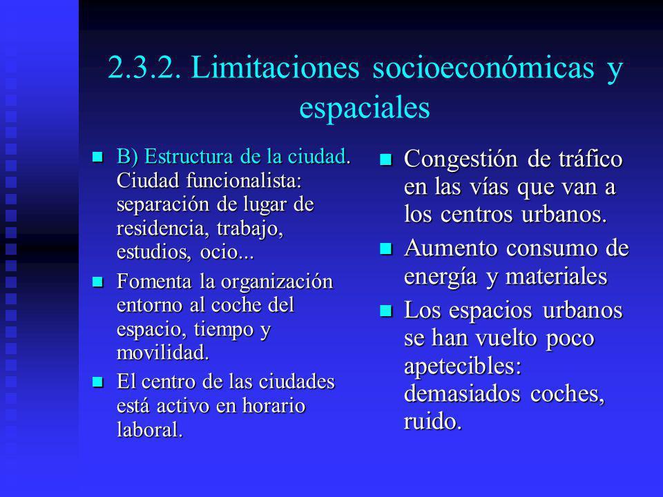 2.3.2. Limitaciones socioeconómicas y espaciales B) Estructura de la ciudad. Ciudad funcionalista: separación de lugar de residencia, trabajo, estudio