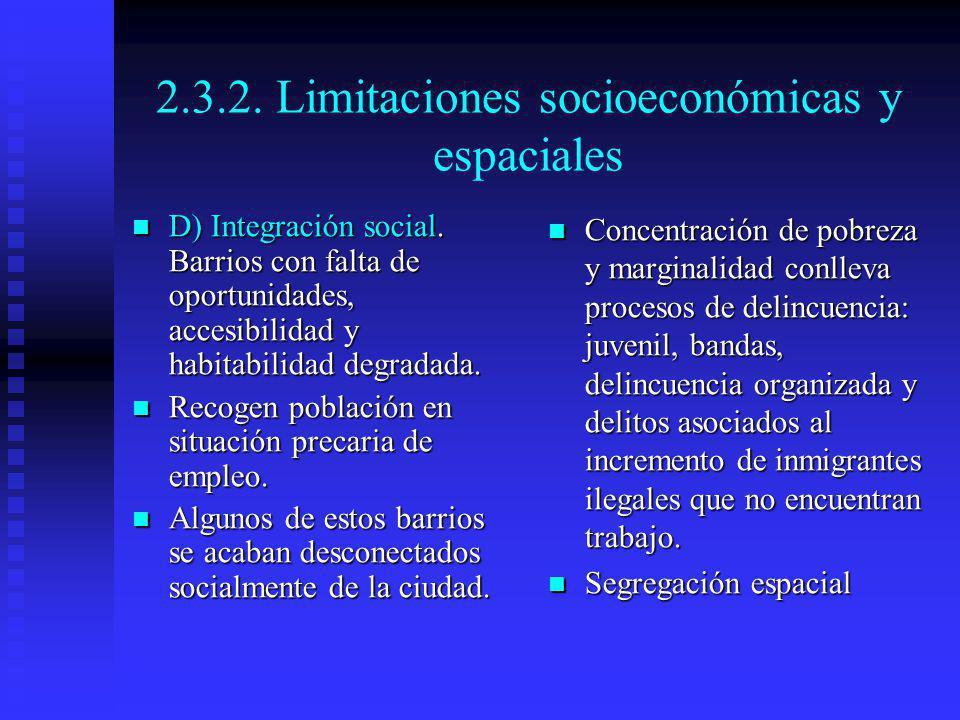 2.3.2. Limitaciones socioeconómicas y espaciales D) Integración social. Barrios con falta de oportunidades, accesibilidad y habitabilidad degradada. D